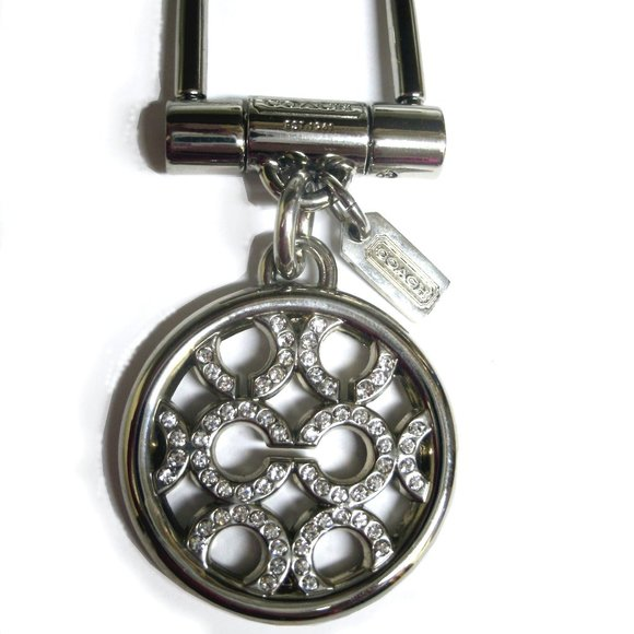 Coach Silver Circle C Keyfob Purse Charm